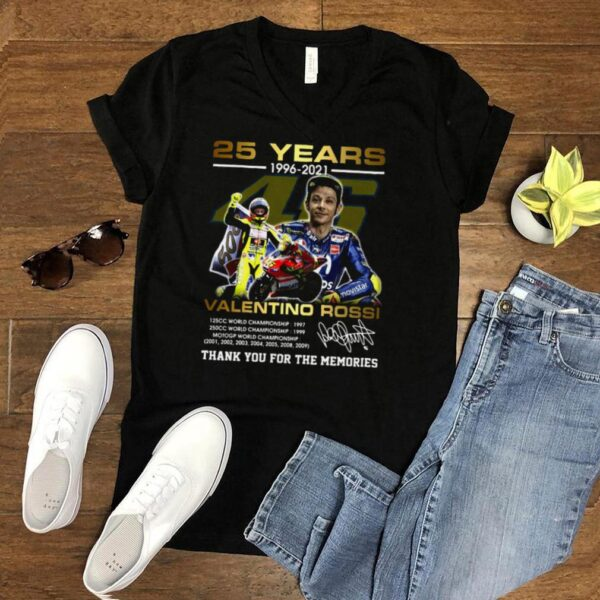 Valentino Rossi 25 Years 1996 2021 Signature Thank You For The Memories T shirt