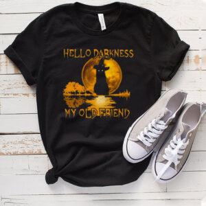 Black Cat Hello Darkness My Old Friend Witch Moon Halloween T shirt