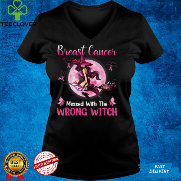 Breast Cancer Messed With The Wrong Pink Witch Hat Halloween T Shirt