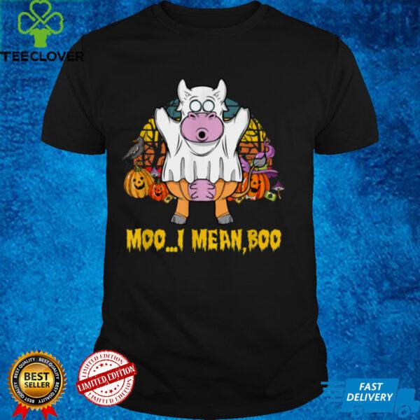 Ghost Cow Moo I Mean Boo Pumpkin Moon Halloween T Shirt (3)