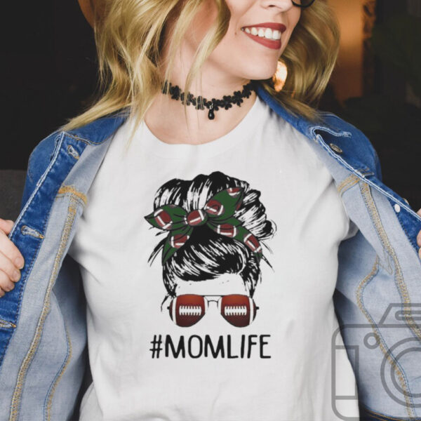 Mom life messy bun hair football shirt