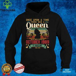 32 Years Old Birthday Girls 32nd Birthday Queen October 1989 T Shirt B09GDMN5WL