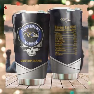 Baltimore Ravens Fan Facts Super Bowl Champions American NFL Football Team Logo Grateful Dead Skull Custom Name Personalized Tumbler Cup For Fanz