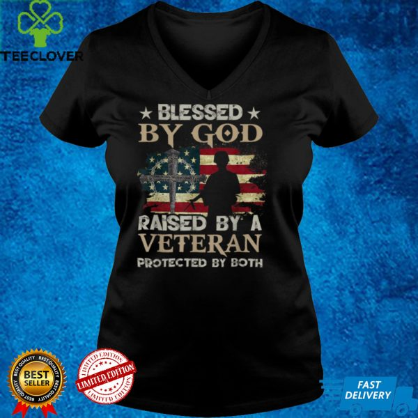 Blessed By God Raised By Veteran Protected By Both Flag USA T Shirt