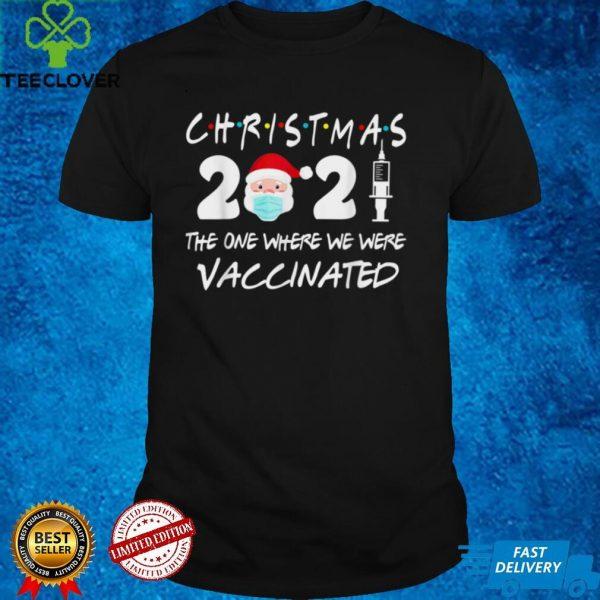 Christmas 2021 Santa Face Wearing Mask Funny Vaccinated T Shirt