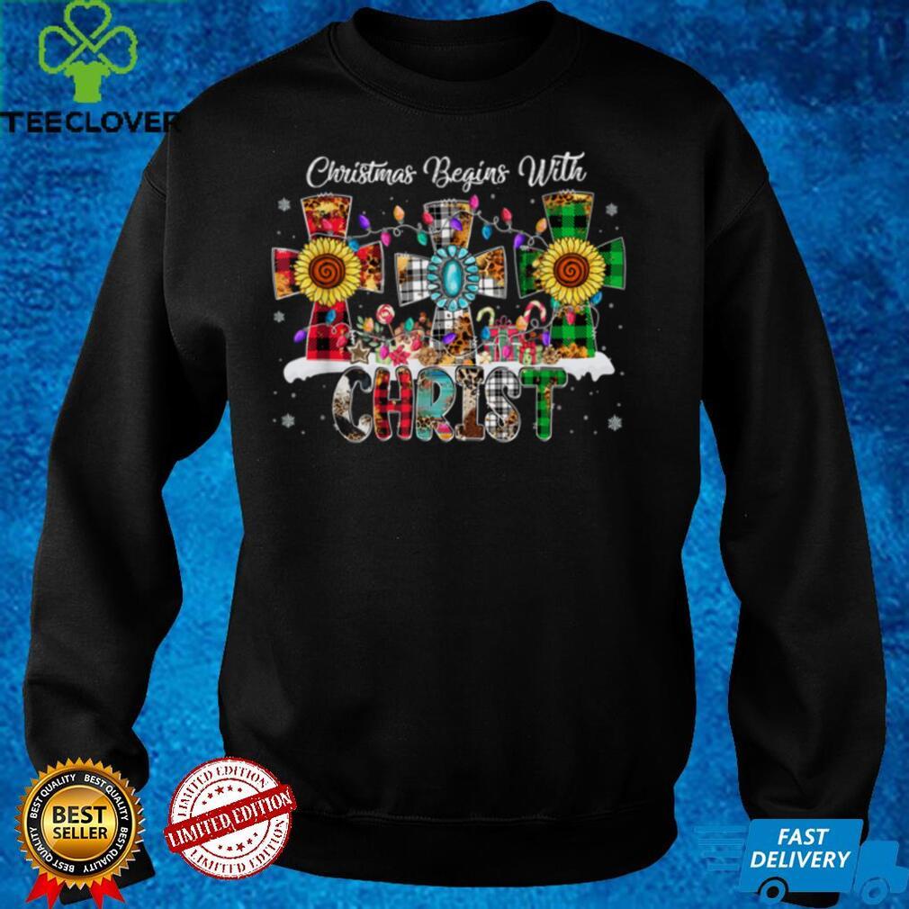 Christmas Begins With Christ Buffalo Plaid Jesus Cross Xmas T Shirt