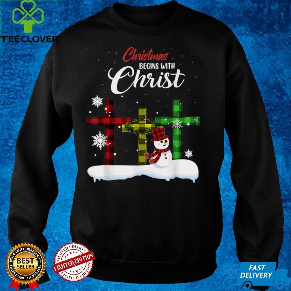 Christmas Begins With Christ Snowman Christian Cross Costume T Shirt