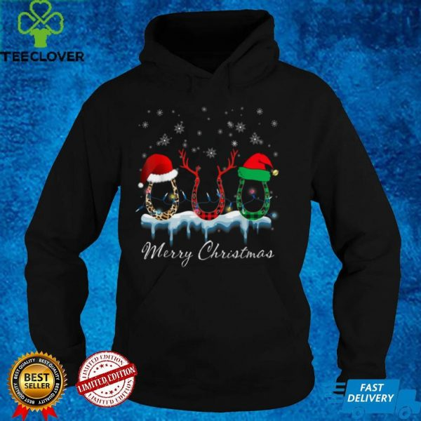 Christmas Horseshoe Shirts Plaid Christmas Hat Glitter Santa T Shirt