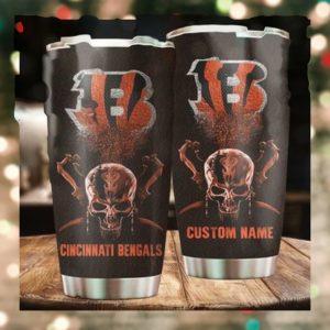 Cincinnati Bengals Skull Custom Name Tumbler Personalized Football Dinkware Customized NFL Cups1