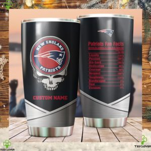 New England Patriots Fan Facts Super Bowl Champions American NFL Football Team Logo Grateful Dead Skull Custom Name Personalized Tumbler Cup For Fans