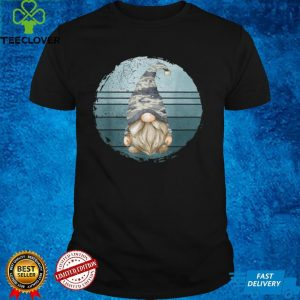 Cute Camouflage Military Gnome For Veteran Dad Retro Sunset T Shirt