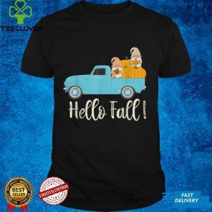 Cute Gnome Pumpkin Blue Pickup Truck Hello Fall T Shirt