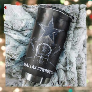 Dallas Cowboys Skull Custom Name Tumbler Personalized Football Dinkware Customized NFL Cup