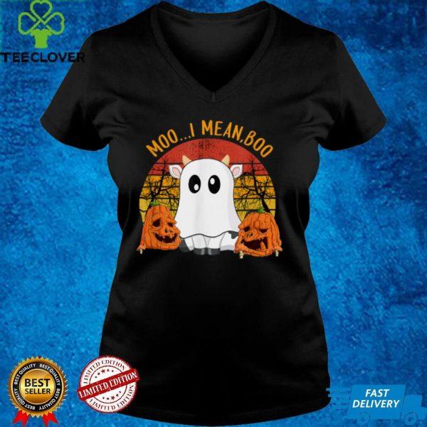 Ghost Cow M.o.o I Mean Boo Pumpkins Moon Halloween T Shirt