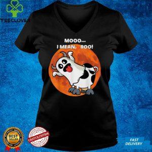 Ghost Cow Moo I Mean Boo Pumpkin Moon Halloween T Shirt (1)