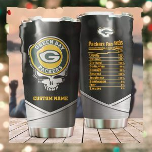 Green Bay Packers Fan Facts Super Bowl Champions American NFL Football Team Logo Grateful Dead Skull Custom Name Personalized Tumbler Cup For Fanz