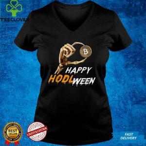 HODL ween Skeleton Hand Holding Bitcoin BTC Happy Halloween T Shirt