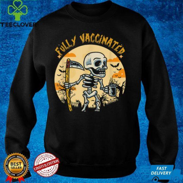 Halloween Fully Vaccinated Monster Pumpkin Skull Skeleton T Shirt