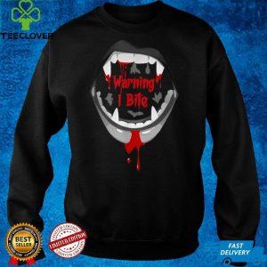 Halloween Vampire Design Warning I Bite Scary Vampire Funny T Shirt