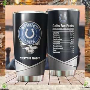 Indianapolis Colts Fan Facts Super Bowl Champions American NFL Football Team Logo Grateful Dead Skull Custom Name Personalized Tumbler Cup For Fan
