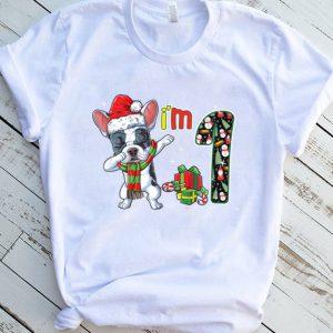 Kids French Bulldog Santa Christmas Kids 1st Birthday 1 Year Old T Shirt