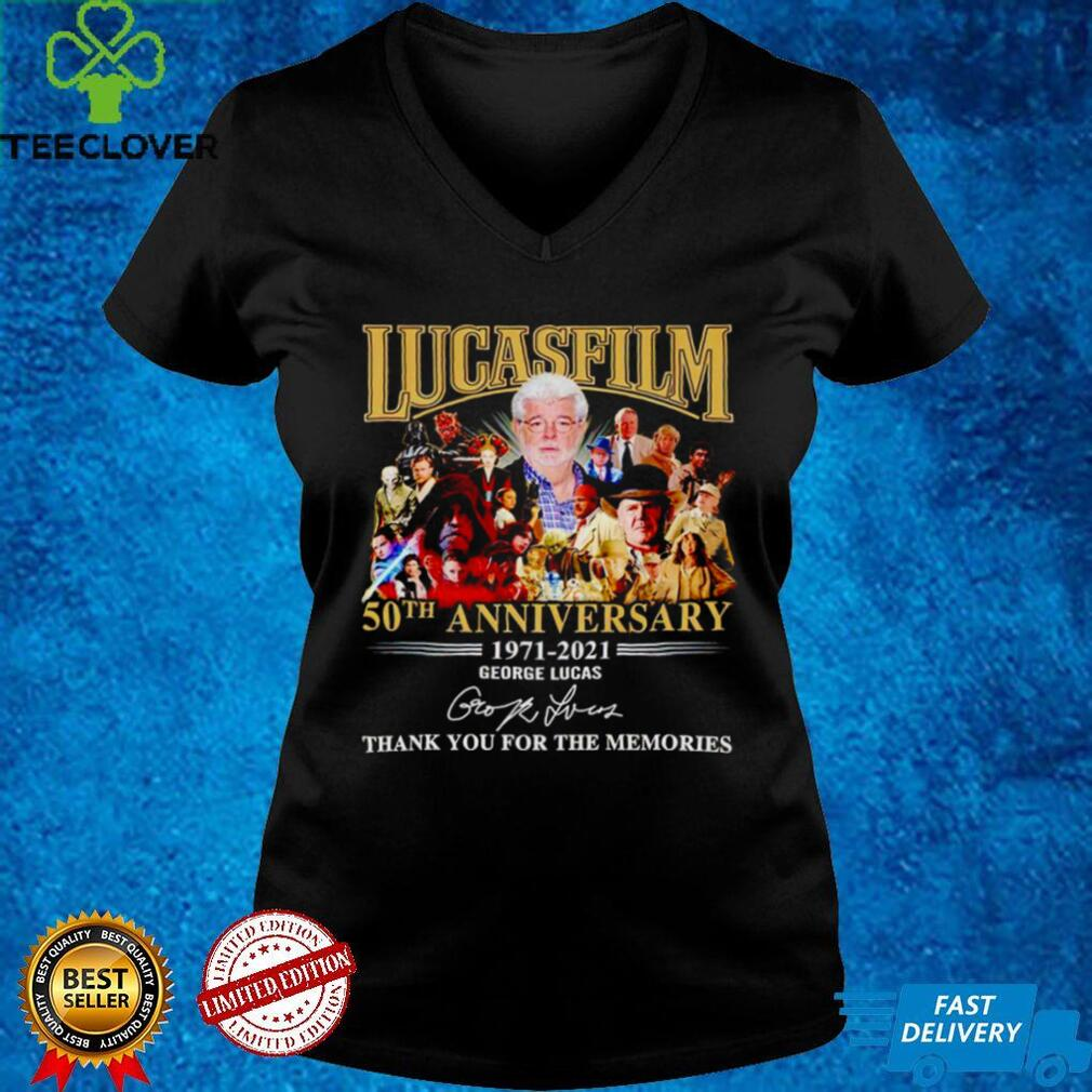 Lucasfilm 50th anniversary 1971 2021 George Lucas signature thank you for the memories shirt