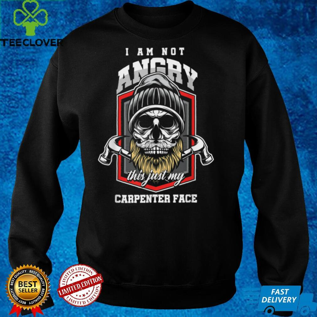 Mens Angry Carpenter Face Bearded Skull Woodworker Craftsman Wood T Shirt