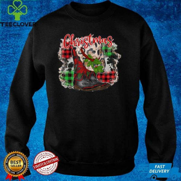 Merry Christmas Western Cowboy Boot Hat Leopard Red Plaid T Shirt