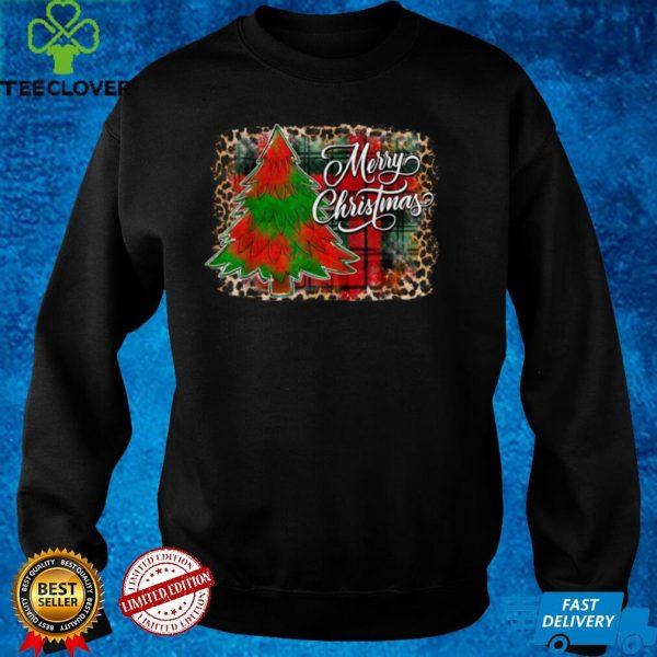 Merry Christmas Xmas Tree Buffalo Plaid Leopard Holidays T Shirt