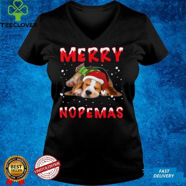 Merry Nopemas Beagle Nope Lazy Funny Pajamas Christmas T Shirt