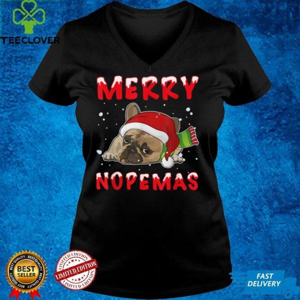 Merry Nopemas Bulldog Nope Lazy Funny Pajamas Christmas T Shirt