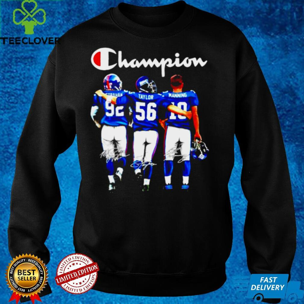 Michael Strahan Lawrence Taylor and Eli Manning New York Giants Champion signatures shirt