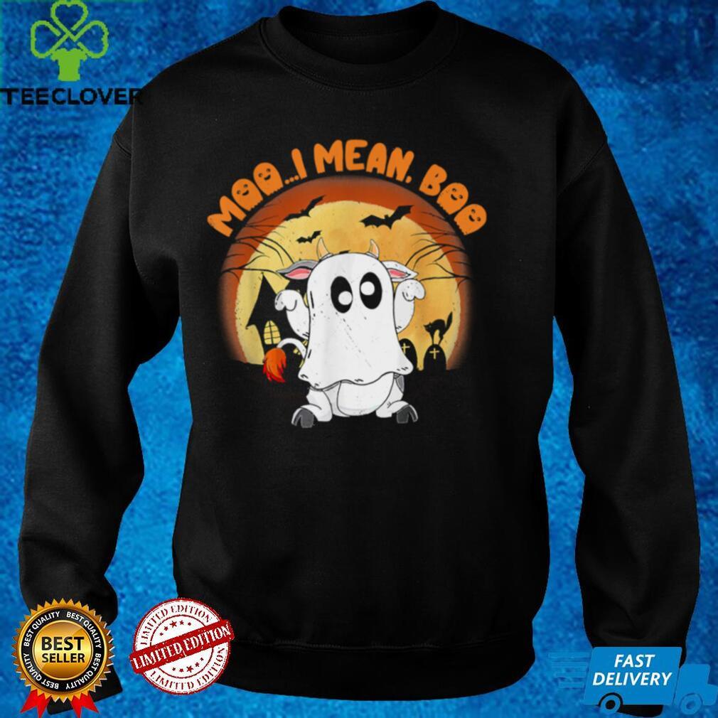 Moo I Mean Boo Ghost Cow Pumpkin Moon Halloween shirt