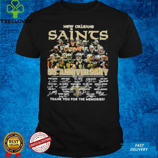 New Orleans Saints 55th anniversary 1966 2022 thank you for the memories signatures shirt