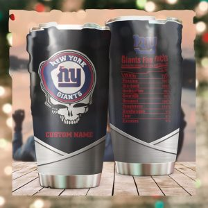 New York Giants Fan Facts Super Bowl Champions American NFL Football Team Logo Grateful Dead Skull Custom Name Personalized Tumbler Cup For Fanz
