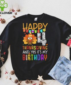 Official Kids Birthday 4 Years Old Turkey Day Happy Thanksgiving Fall Kids T Shirt