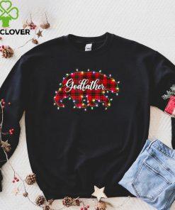 Official Mens Christmas Lights Pajama Matching Red Plaid Godfather Bear T Shirt