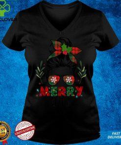 Official Merry Lito Christmas Messy Bun Red Plaid Xmas T Shirt