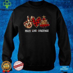 Peace Love Christmas Leopard Plaid Prints Merry Xmas Shirt