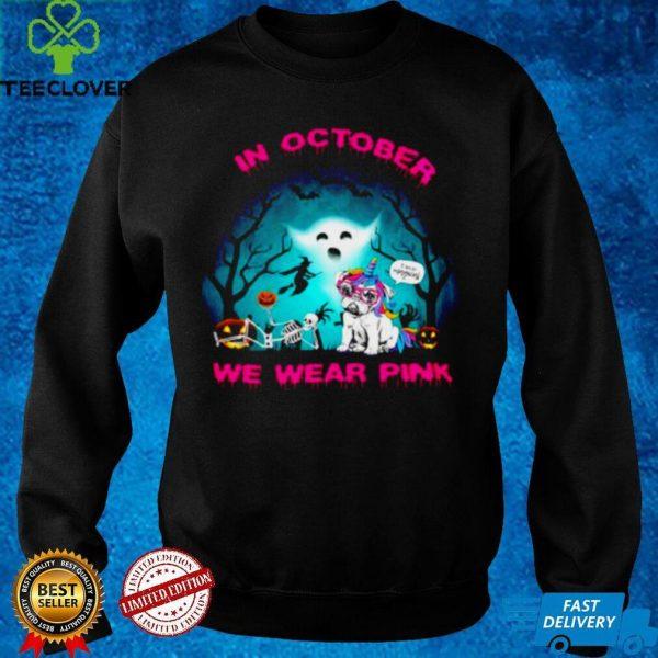 Pug unicorn In october we wear pink Halloween shirt
