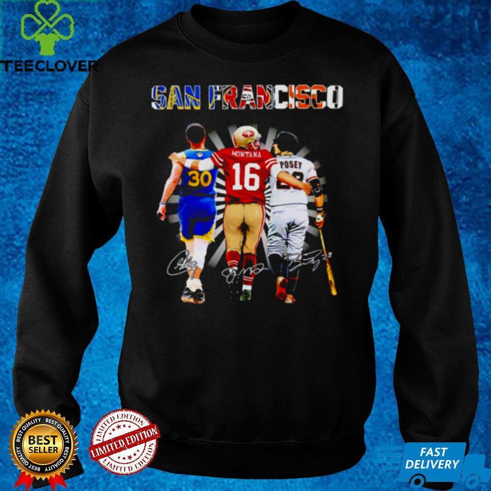 San Francisco best player Stephen Curry Joe Montana Buster Posey signatures shirt