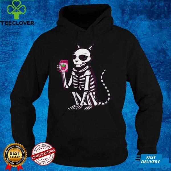 Skeleton Cat Drinking Strawberry Milkshake shirt