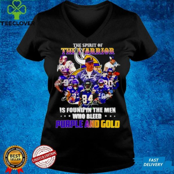 The spirit of The Warrior is found in the men who bleed Purple and Gold signature shirt