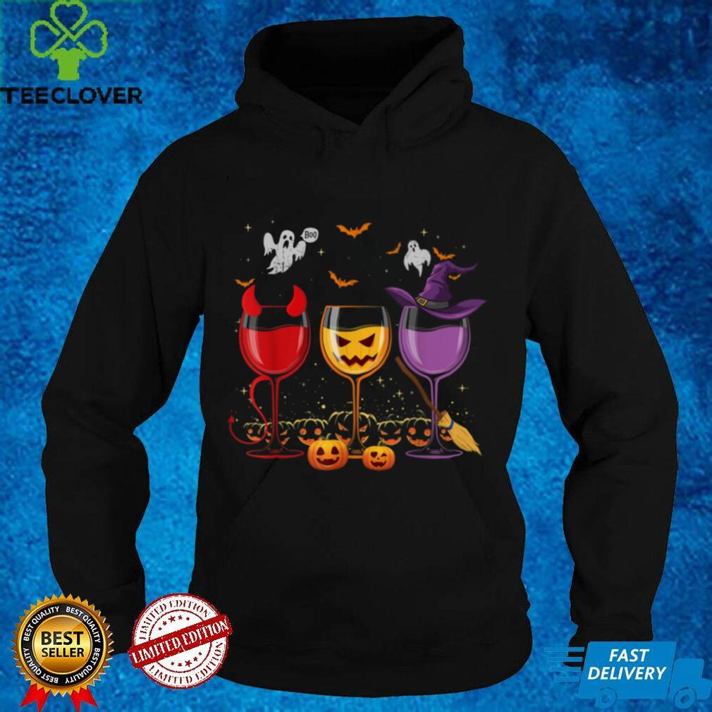 Three Glasses Of Wines Funny Halloween Wine Lover T Shirt