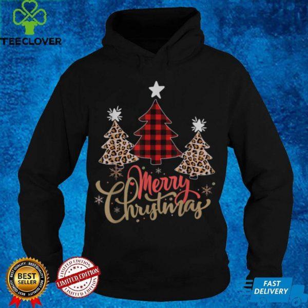 Women Leopard Plaid Christmas Tree Merry Christmas T Shirt