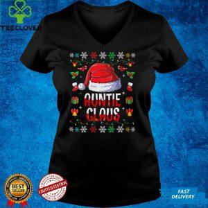 Womens Funny Santa Auntie Claus Family Matching Christmas Pajama V Neck T Shirt